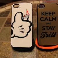 Bundle Gold Keep Calm  Stay Trill / Mickey Hand / Lighter / Weed / Wiz / Roll / Jet life / A$ap Rocky Apple Iphone 5 Case