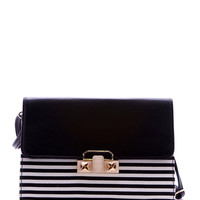 Stripes Clutch - Black