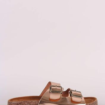 Metallic Patent Buckled Footbed Sandal