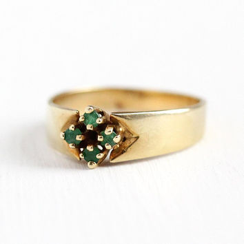 Emerald Cluster Ring - Estate 14k Yellow Gold Genuine Gemstone Band - Size 6 Fine May Birthstone Modern Classic Jewelry