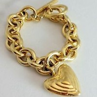 Vintage Goldtone Puffy Heart Charm Toggle Link Bracelet