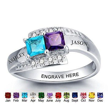Personalized Simulated Birthstone Rings For Couple Custom Engraved Names Promise Lover Rings For Women (7)