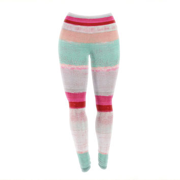 "CarolLynn Tice ""Higher"" Pink Mint Yoga Leggings"