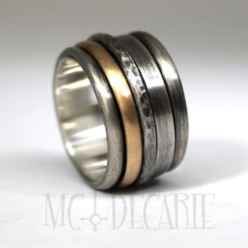 Large sinner ring with 10k gold band and 2 silver spinners, 2 engraving included, sterling silver