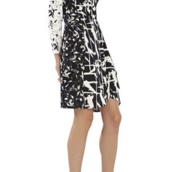 Adele Printed Wrap Dress - Black