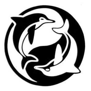 Ying Yang Dolphins  Vinyl Car/Laptop/Window/Wall Decal