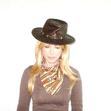 Minnetonka Silverthorne Genuine Leather Hat Brown Size Small Boho Vintage Distressed Spaghetti Western