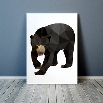 Sun bear print Modern art Animal poster Colorful decor TOA85