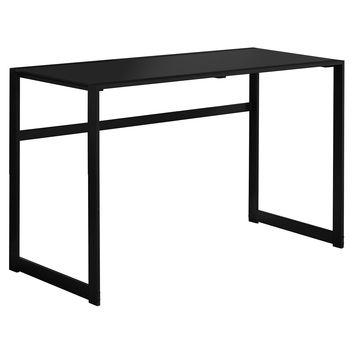 "Computer Desk - 48""L / Black Metal / Black Tempered Glass"