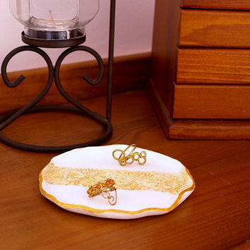 Gold lace ring dish, White and gold jewelry holder, OOAK