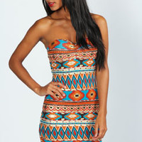 Orla Foil Print Bandeau Bodycon Dress