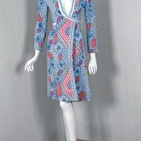 1970's Ossie Clark Colorful Celia Birtwell Print-Cotton Plunge Wrap Dress