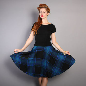 60s PENDLETON Plaid SKIRT / Blue, Black & Green Tartan, Full Skirt, s