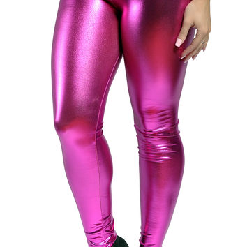 BadAssLeggings Women's Wet Look Liquid Leggings Size Medium Pink