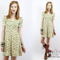 Vintage 70s Floral Mini Dress Puff Sleeve Dolly Dress XS Babydoll Dress Puff Sleeve Dress Ditsy Dress Calico Dress Lace Dress Summer Dress