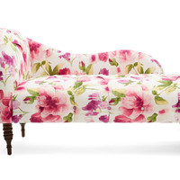 Reilly Floral Linen Chaise, Raspberry, Chaise Longues