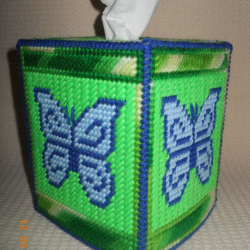 Blue Butterfly Tissue Box Cover in Plastic canvas