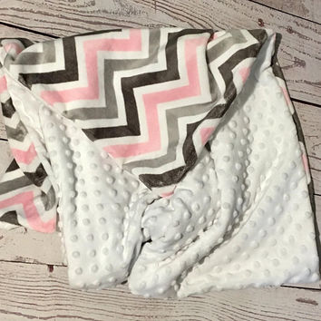 Personalized Baby Blanket,Handmade Minky Blanket,Pink Gray Chevron Print,Baby Bedding,Baby Girl Gift,Embroidered Baby Gift,Monogrammed