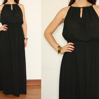 Chiffon Maxi Dress Long Summer Keyhole dress in Black for Women