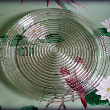 Vintage Anchor Hocking Manhattan Crystal Art Deco Handled Sandwich Platter
