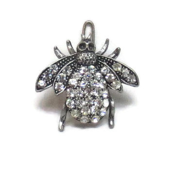 Bumble Bee Hair Barrette Clip Silver White Body