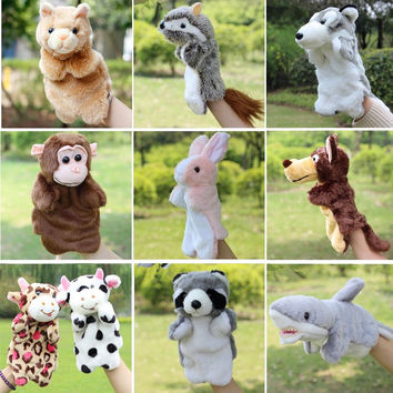 New Arrival Animal Hand Puppet Toys Plush Puppets Sloth Rabbit Cow Cat Monkey Snake Doll