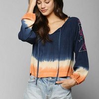 Mono B Embroidered-Shoulder Tie-Dye Blouse - Urban Outfitters