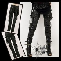 Unisex Cool Goth PUNK visual kei Rock belt trousers pants S M L XL XXL FREE SHIP