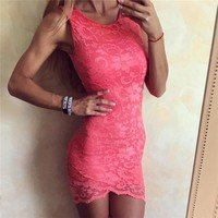 Lace Summer Hot Sale Round-neck Sleeveless Backless One Piece Dress [11677687951]