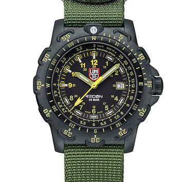 Luminox Mens Metric Recon Point Man - Black Dial w/ Green & Yellow - NATO Strap