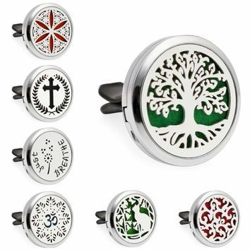 Multiple options Tree of life Perfume Locket Car Diffuser locket vent clips Essential Oil Aroma locket Magnetic 10 Pads randomly