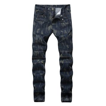 Men Ruffle Slim Pants Stylish Jeans [1563339259997]
