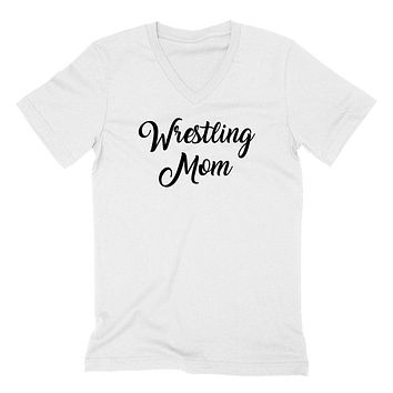 Wrestling mom, workout clothing, gym, fitness, yoga  V Neck T Shirt