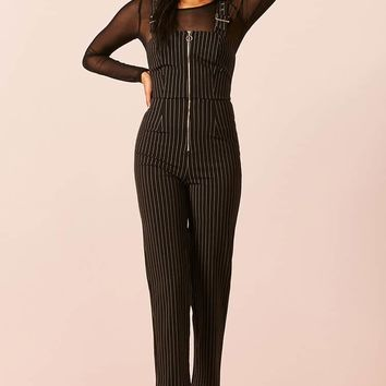 Pull-Ring Pinstripe Overalls