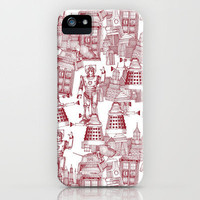Doctor Who Toile de Jouy | 'Walking Doodle' | Red iPhone Case by Sharon Turner | Society6