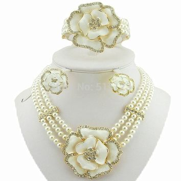 rose flower jewelry sets african big jewelry sets women bead necklace bead jewelry sets  wedding necklace gold