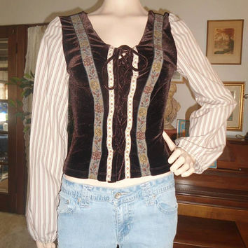 Pheasant Bar Maid Corset Blouse with 'Barber Shop' Puff Sleeves  Medieval Times Clothing Gothic  Renaissance