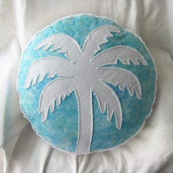 Palm tree pillow in aqua batik and white denim round pillow