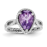 Sterling Silver Genuine Amethyst Pear Twisted Ring