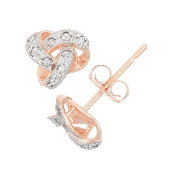 Gioelli 10k Gold .09ct TDW Diamond Round Cut Petite Love Knot Stud Earrings (I-J/I2) | Overstock.com Shopping - The Best Deals on Diamond Earrings
