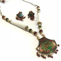 Jodhpuri Meenakari Necklace With Earrings/Indian jewelry / ethnic jewelry