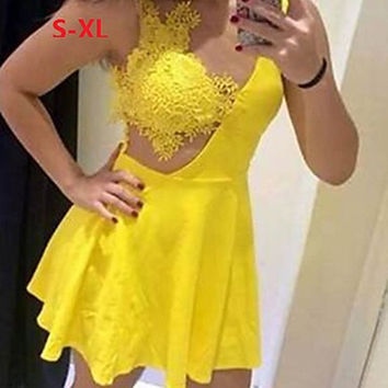 Women's Sexy Lace Cute Plus Sizes Micro Elastic Sleeveless Above Knee Dress