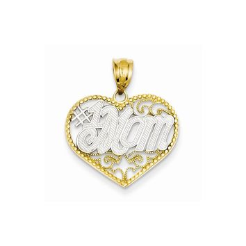 14k Yellow Gold & Rhodium Filigree #1 Mom Heart Pendant