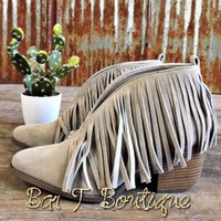 Savannah Fringe Booties ~ Grey