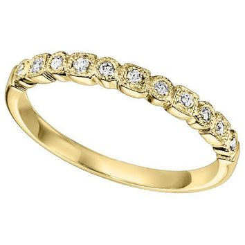 10K Yellow Gold .11cttw Bead Set Station Diamond Stackable Ring
