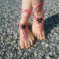 Crochet Barefoot Sandals, Summer Shoes, Beach Lace Up Foot Jewelry, Hippie Sandals, Anklets