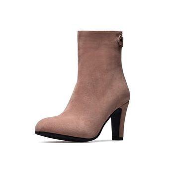 Faux Suede Pointed Toe High Heels Boots for Women 1492