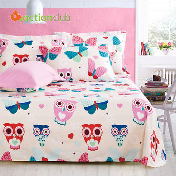 High Quality Flat Owl Print Sheet Bedding