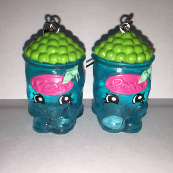 Shopkins Foodie Earrings - Freezy Peazy - repurposed toys