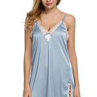 Satin Sleepwear Silk Nightgown Nightdress Lingerie